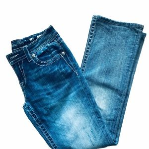 Miss Me Relaxed Boot Peek-A-Boo Cross Hatch Jeans